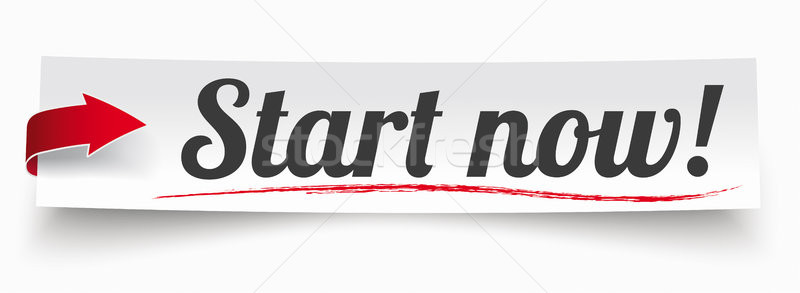 Paper Banner Red Arrow Start Now Stock photo © limbi007