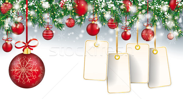 Christmas Header Twigs Snow Baubles Golden Price Stickers Stock photo © limbi007