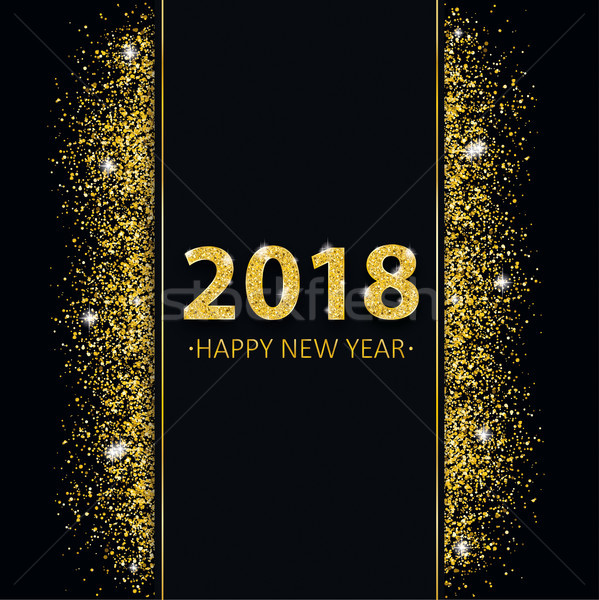 2018 New Year Golden Sand Black Cover Centre Banner Stock photo © limbi007