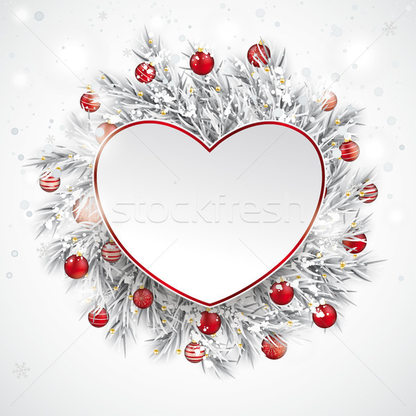 Christmas Frozen Twigs Snowfall Baubles Heart Stock photo © limbi007