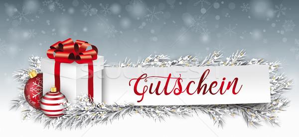 Foto d'archivio: Carta · banner · gingillo · congelato · Natale · regalo