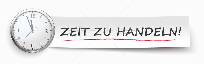 Paper Banner Clock Zeit Zu Handeln Stock photo © limbi007