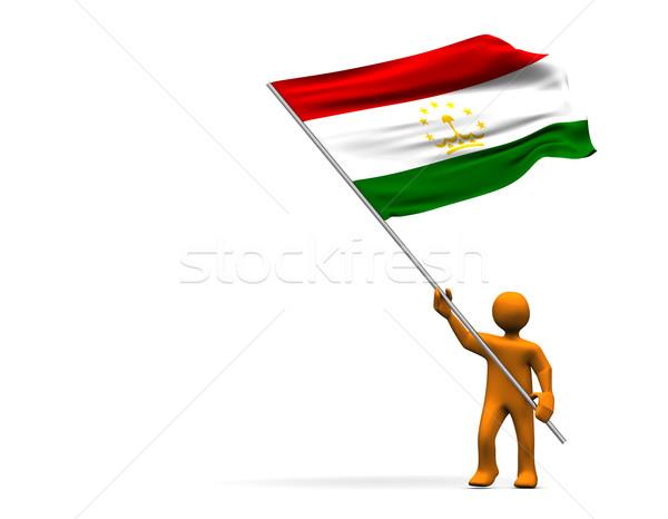 Zászló Tádzsikisztán narancs rajz nagy izolált Stock fotó © limbi007