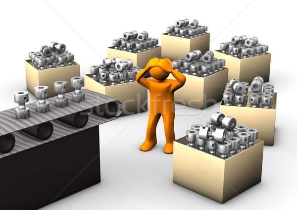 Narancs rajz gyártósor dobozok fehér nő Stock fotó © limbi007