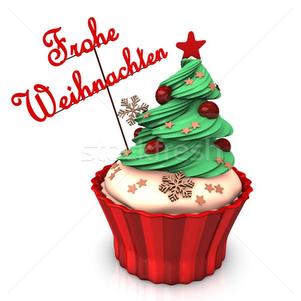 ストックフォト: 陽気な · クリスマス · 緑の木 · 文字 · ケーキ