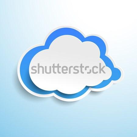 Blue Cloud Label Stock photo © limbi007