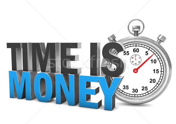 Время-деньги секундомер текста белый служба часы Сток-фото © limbi007
