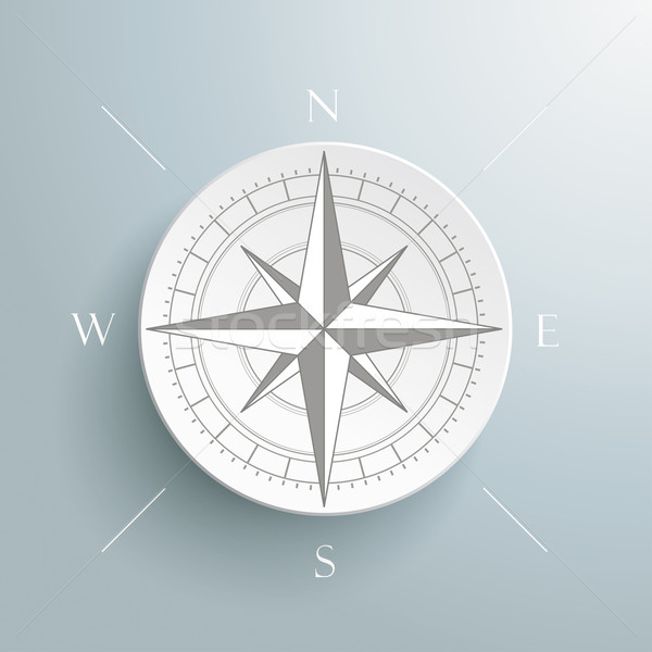 Stock photo: Compass Silver Background