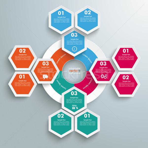 Big Circle Colored Infographic Honeycomb Flowchart Stock photo © limbi007