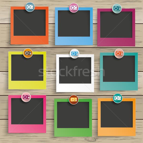 Wood 9 Photo Frames Camera Icons Stock photo © limbi007