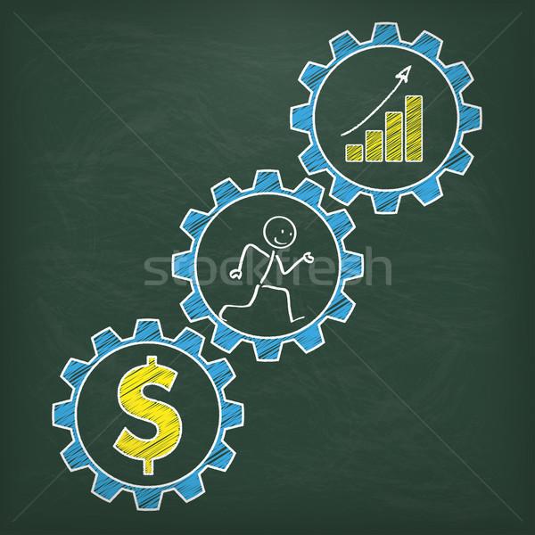 Blackboard Stickman Runs Gears Dollar Chart Stock photo © limbi007