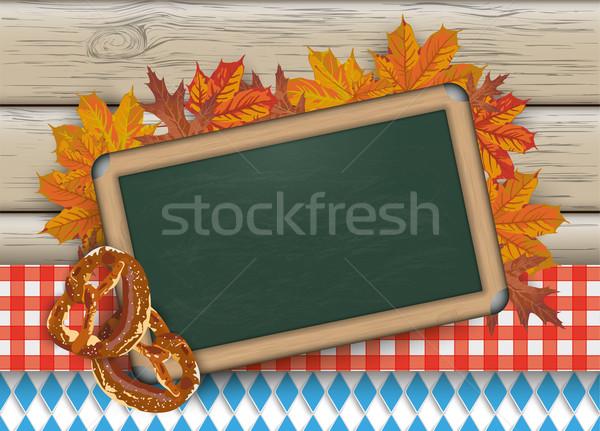Oktoberfest tableau noir bretzel bois vert couleurs Photo stock © limbi007
