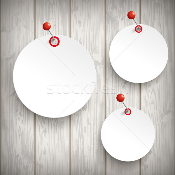 3 White Paper Circle Stickers Pin Wood Stock photo © limbi007
