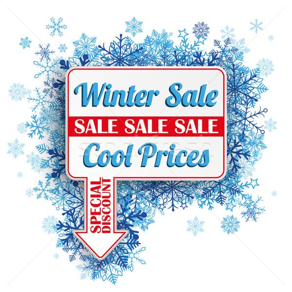Photo stock: Rectangle · flèche · bleu · flocons · de · neige · hiver · vente