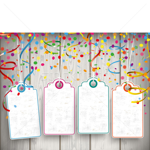 Carnival Confetti Ribbons 4 Price Stickers Stock photo © limbi007