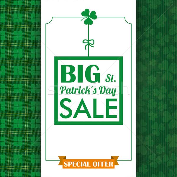 St Patricks Day Sale Cloverleafs Tartan Oblong Banner Stock photo © limbi007