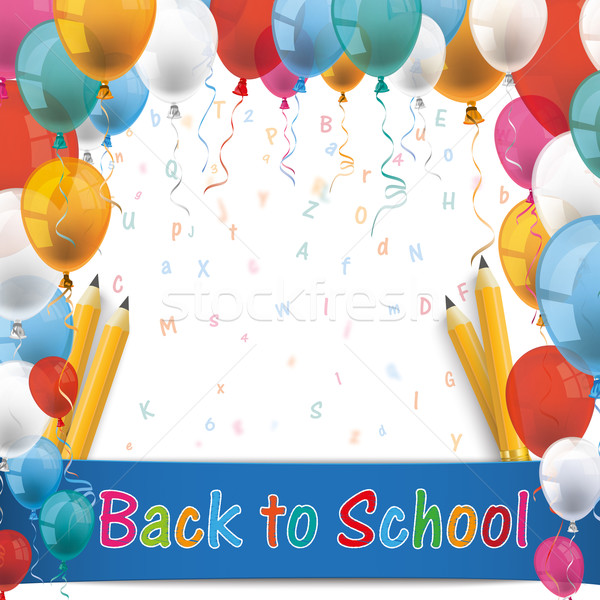 Globos volver a la escuela lápiz cartas texto eps Foto stock © limbi007