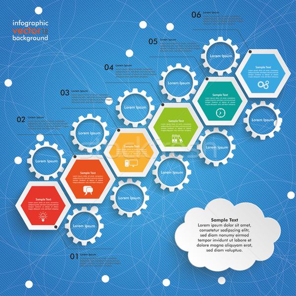 Hatszög diagram növekedés sebességváltó felhő kék ég Stock fotó © limbi007