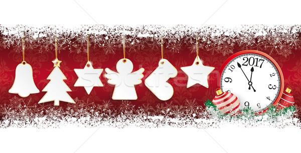 Golden Christmas Stickers Snow Banner Wood Clock 2017 Stock photo © limbi007