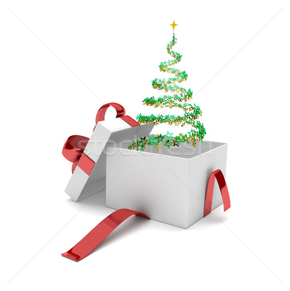 Opened Gift Carton Stardust Christmas Tree Stock photo © limbi007