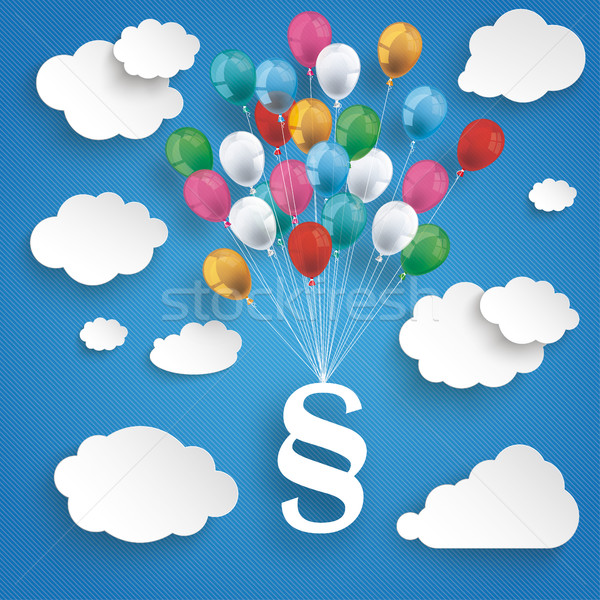 Paper Clouds Striped Blue Sky Balloons Paragraph Stock photo © limbi007