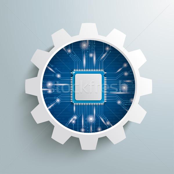 Gear Wheel Microchip Lights Stock photo © limbi007