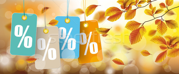 Autumn Price Stickers Percents Beech Foliage Header Stock photo © limbi007