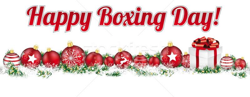 Noël titre bannière cadeau heureux boxe Photo stock © limbi007
