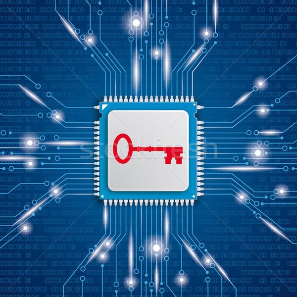 Mikrocsip processzor fények kulcs kék eps Stock fotó © limbi007