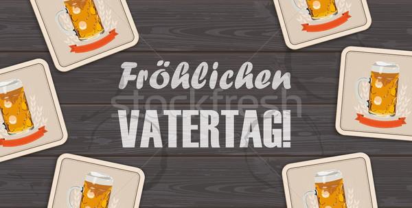 Dark Wooden Background Beer Vatertag Centre Stock photo © limbi007