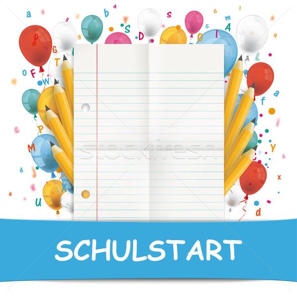Banner Balloons Letters Folded Lined Paper Schulstart Stock photo © limbi007