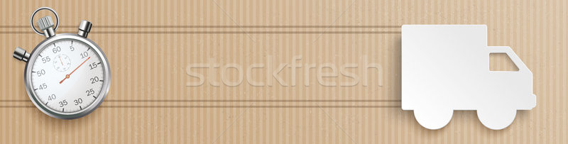 Delivery Van Cardboard Header Stopwatch Stock photo © limbi007