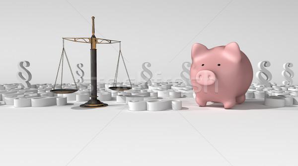 Strahl Gleichgewicht Recht Sparschwein hellen 3D-Darstellung Stock foto © limbi007