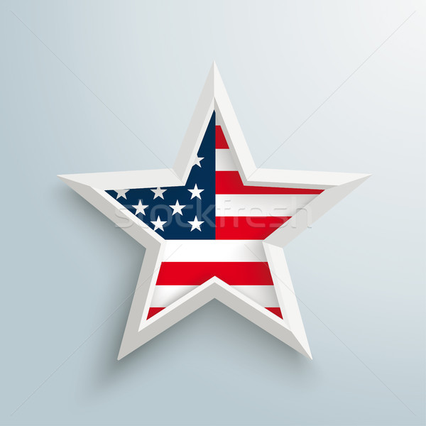 White Star US Flag Gray Background Stock photo © limbi007