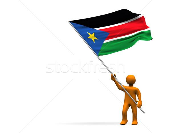 Południe Sudan pomarańczowy cartoon duży banderą Zdjęcia stock © limbi007