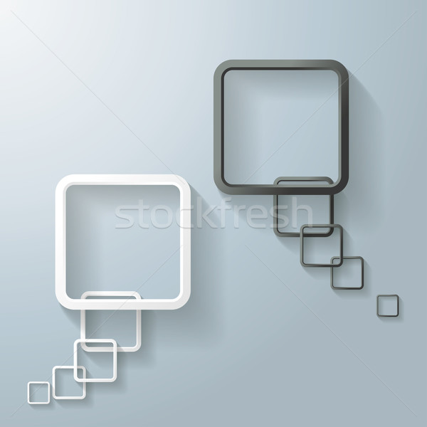Stock photo: Two Abstract White And Black Rectangle Speech Bubble
