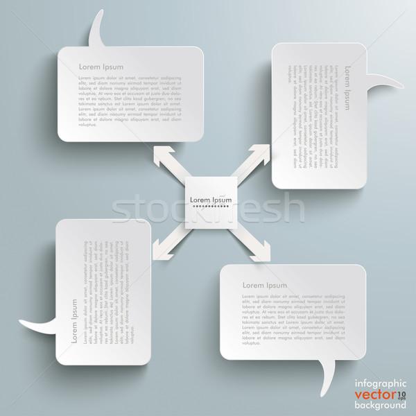 4 Rectangle Speech Bubbles Centre 4 Arrows Stock photo © limbi007