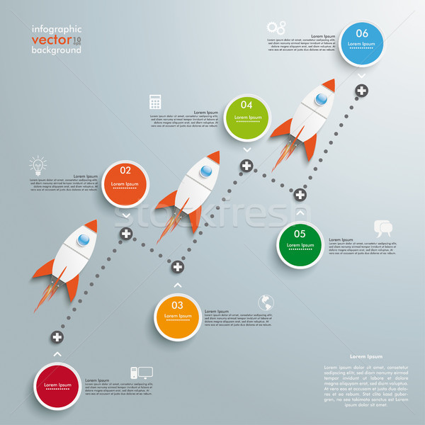 Timeline Successful Chart Circles Rockets Stock photo © limbi007