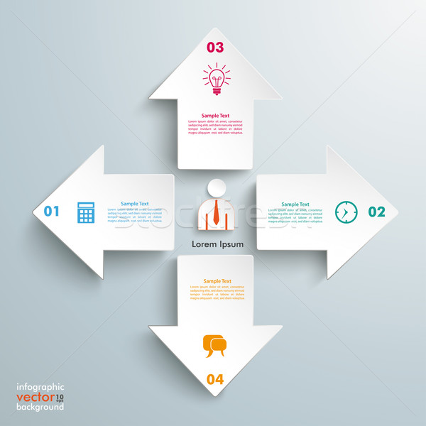 Stock photo: 4 Arrows All Directions Infographic