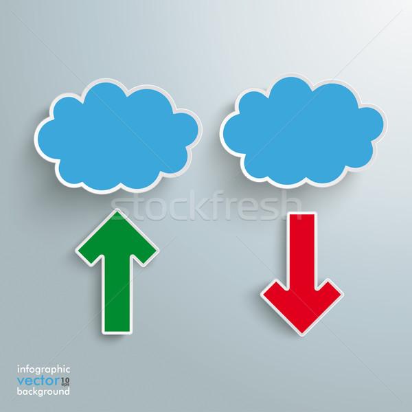 Blue Clouds 2 Arrows Upload Download Stock photo © limbi007