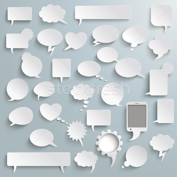 Big Set Paper Communication Bubbles Shadows PiAd Stock photo © limbi007