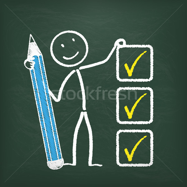 Blackboard Stickman Checklist  Stock photo © limbi007