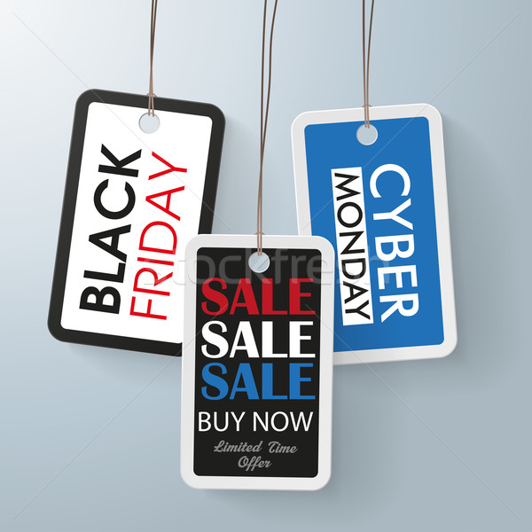 Prijs stickers black friday zwarte eps 10 Stockfoto © limbi007