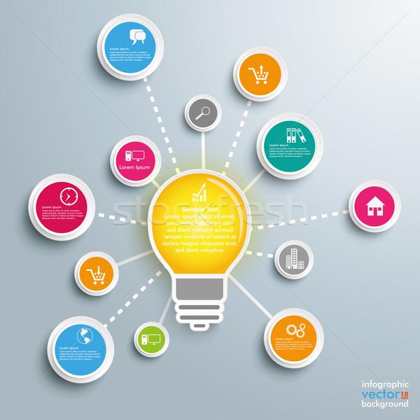 Lamp cirkels netwerk ontwerp grijs Stockfoto © limbi007
