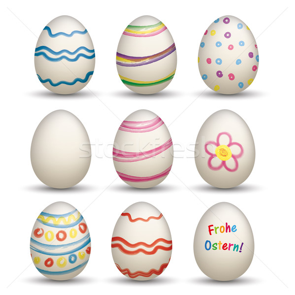 Set Of 9 Natural Colored Easter Eggs Frohe Ostern Stock photo © limbi007