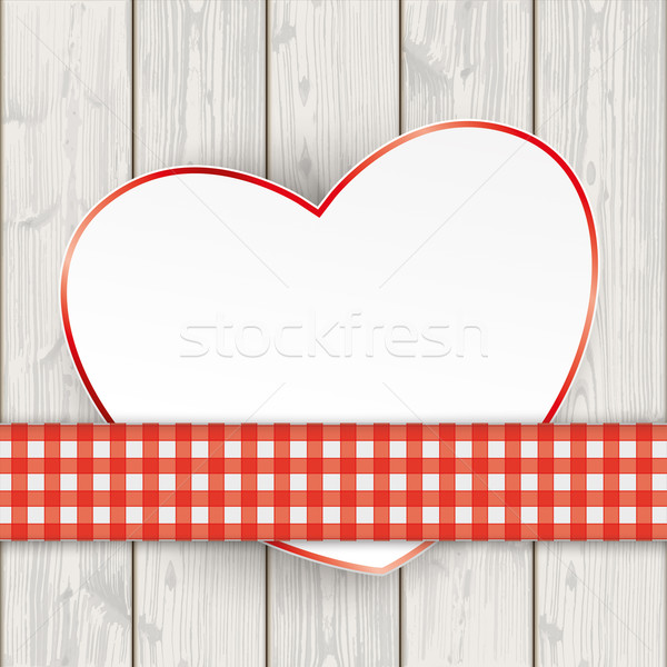 Wooden Planks Red Checked Tablecloth Convert Heart Stock photo © limbi007