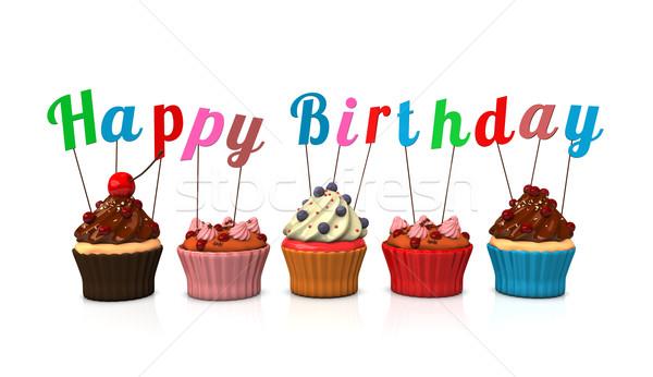 Happy Birthday Cupcakes Stock photo © limbi007
