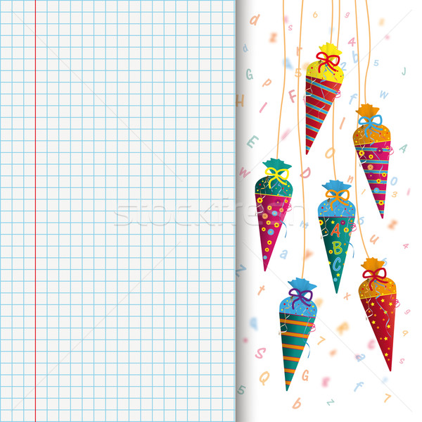 Hanging Candy Cones Letters Checked School Paper Stock photo © limbi007