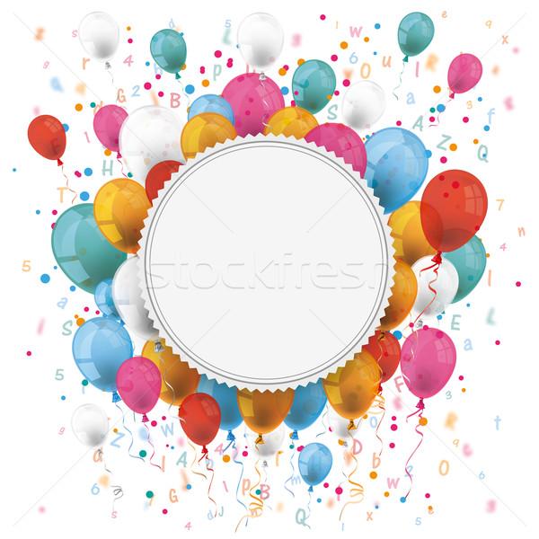 эмблема шаров конфетти письма белый бумаги Сток-фото © limbi007