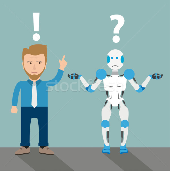 Cartoon Robot Businessman Communication Problem Stock photo © limbi007